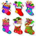 Of a set of socks with gifts for Christmas Stock Image
