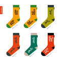 Set of socks with Telugu Indian characters Original Royalty Free Stock Photo