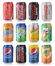 Set of soda cans collection various brands drinks on white background Royalty Free Stock Image