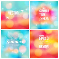 Set of soft blurry backgrounds with bokeh effect vector illustration Royalty Free Stock Photos