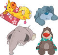 Set of soft toys cartoon various childrens Stock Photography