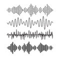 Set of sound audio waves music. EQ musical melody technology. Record vector. Musical wave form. Rocorder melody sound Royalty Free Stock Photo
