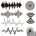 Set of sound waves. Lines. Icons isolated on white background.