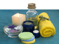 Set of SPA in blue and yellow Stock Photography