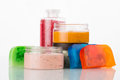 Set for spa handmade soap salt and foam bath colorful Royalty Free Stock Image