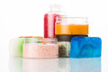 Set for spa handmade soap salt and foam bath colorful Stock Photo