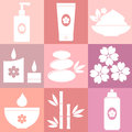 Set of spa icons on pink background vector illustration Royalty Free Stock Images