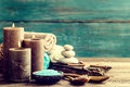 Set for spa treatments with cosmetic products for body care and relaxation Royalty Free Stock Photo