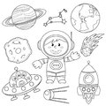 Set of space elements. Astronaut, Earth, saturn, moon, UFO, rocket, comet, constellation, sputnik and stars Royalty Free Stock Photo