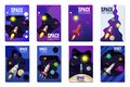 Set space rocket travel cards, exploration of the universe, other planets, flying rockets, stars of distant galaxies Royalty Free Stock Photo
