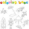 Set of spacecraft, spaceship and aerospace vehicle. Flying saucer, satellite and astronaut. Coloring book for children