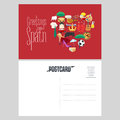 Set of Spanish landmarks, culture, music, food icons in vector postcard Royalty Free Stock Photo