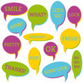 Set of speech bubbles on a white background with different inscriptions in the middle