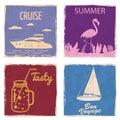Set Speedboat Sailboat Flamingo Mason Jar vintage cards poster. Textured grunge effect retro card with text Cruise Tasty
