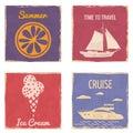 Set Speedboat Sailboat Slice Orange Ice Cream vintage cards poster. Textured grunge effect retro cards with text Cruise