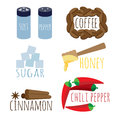 Set of spices coffee sugar honey Royalty Free Stock Photo