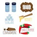 Set of spices coffee sugar honey