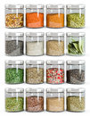 Set of spices in glass bottles Royalty Free Stock Photo