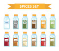 Set spices in jars, flat style. Set of different spices, herbs in a glass jar