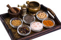 Set of spices and seeds of legumes in glass molds on tray Royalty Free Stock Photo