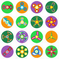 Set of 16 spinners of different shapes a flat style.