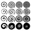 Set of spiral elements, black isolated s Royalty Free Stock Photo