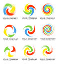A set of spiral and swirl colorful creative logos Royalty Free Stock Image