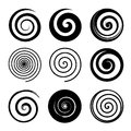 Set of spiral and swirl motion elements, black isolated objects. Different brush textures. Vector illustrations. Royalty Free Stock Photo