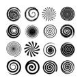 Set of spiral and swirl motion elements. Black isolated objects, icons. Different brush textures, vector illustrations.