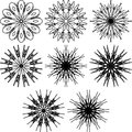 Set of spirograph symbols. Black outline flowers and snowflakes