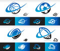 Set of sport balls icons with swoosh graphic elements Royalty Free Stock Image