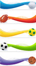 Set of sport banners a with balls Royalty Free Stock Photos