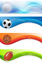 Set of sport banners a with balls Royalty Free Stock Photography