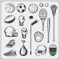 Set of Sport equipment. Soccer, football, lacrosse, basketball, baseball, hockey and tennis. Royalty Free Stock Photo