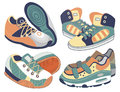 Set of sport shoes vector illustration Stock Photo