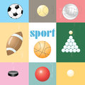 Set of sports balls different types on colored backgrounds Stock Photo