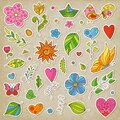 Set of Spring Cute Colorful Stickers with Flowers, Hearts, Leaves, Butterflies, Sun, Boat, Bird, Twigs