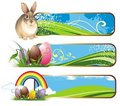 Set of spring easter banners with rabbit and eggs Royalty Free Stock Photo