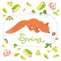 Set of spring flowers and leaves and cute fox hand drawn Royalty Free Stock Images