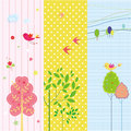 Set of spring and holiday banners three with bird tree Royalty Free Stock Photos