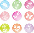 Set spring leaves icons. Vector illustration Royalty Free Stock Image