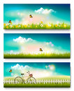 Spring nature meadow landscape with a bicycle.