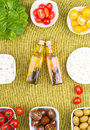 Set spring salad ingredients round Royalty Free Stock Images