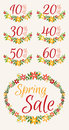 Set of Spring sale graphics with discount stickers Royalty Free Stock Photo