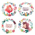 Set of spring-summer decorative wreaths for banners and cards. Summer Sale. Woman`s day