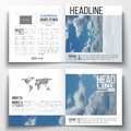 Set of square design brochure template. Beautiful blue sky Royalty Free Stock Photo