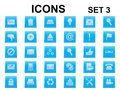 Set of square icons blue Royalty Free Stock Images