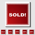 Set of Square Icons - Half Tone - Sold Royalty Free Stock Photo