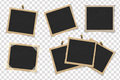 Set of square old vintage frames template with shadows on transparent background