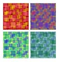 Set of square patterns in different colors, overlapping semitransparent square shapes, seamless vector background collection